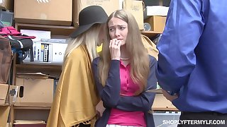 Mature woman and her stepdaughter get punished for shoplifting