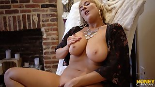 amateur blonde MILF masturbation in sexy lingerie - Solo