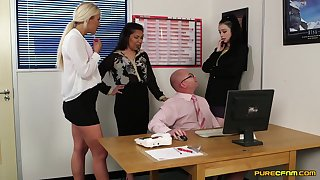 Clothed females at the office in crazy XXX cock sharing display