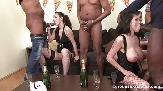 Bitches get blacked during sexual party