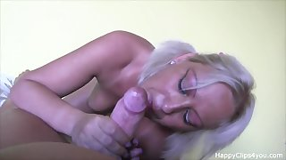 Blonde MILF sucks together with rides dick with a great respect