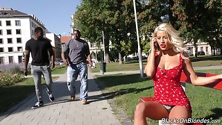 Utter whore with big boobs Sienna Day is fucked by two huge black strangers