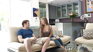 Shameless chick with sexy rounded exasperation Lena Paul jumps first of all dick first of all sofa