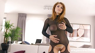 Slutty of age blonde in a fishnet suit Roberta Gemma sprayed with cum