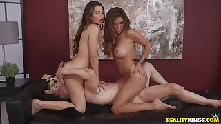Hot threesome sex with derisive big-titted Stepmom