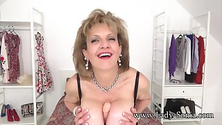 JOI from Lady Sonia while she teat fucks a dildo