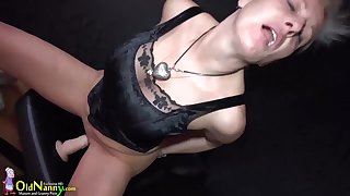 Granny in this video is masturbating her pussy with piercing in her