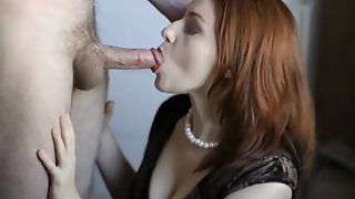 Redhead mummy gets beyond everything all fours in front of man to inhale his man rod pornvideo