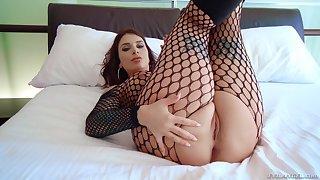 MILF Ivy Lebelle wearing fishnets handles two big black cocks