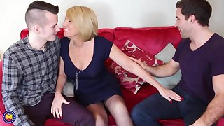 Mature mother fucked by two young question major