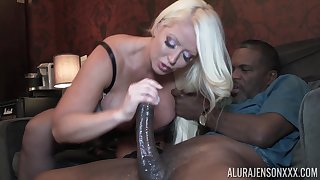 Busty blonde Alura Jenson fucked and creampied unconnected with an older ebony pauper