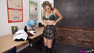 Horny nympho in college unvarying Yasmin Grayce flashes tits and tickles pussy