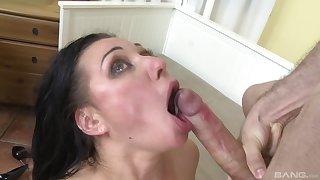 Mature brunette nympho Eva Ann wants cum down her hungering throat