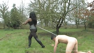 Black Mistress And Her Poor Naked Male Slave