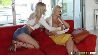 Sexy teen Bella Rose is obsessed with her stepmom's juicy tits and pussy