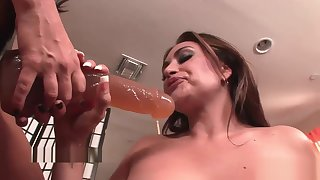 Sexy lesbians play with strap-on toys