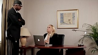 Busty office girl loves getting pounded doggy style with a black cock
