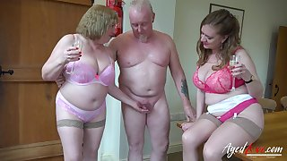 Two perverted old housewives bangs one dude living nextdoor