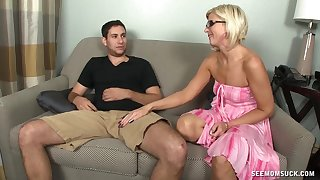 Mature blonde Cayenne Leigh with glasses loves to suck a cock